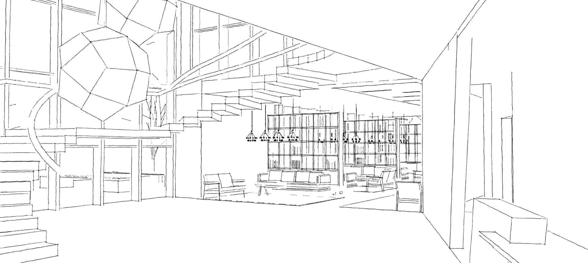 First street interior sketch