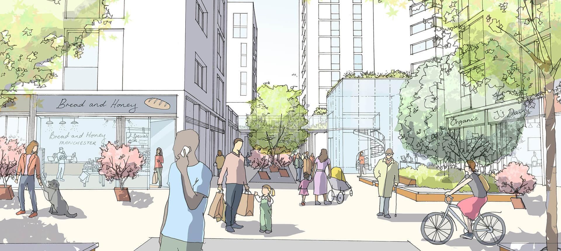 First Street UK Streetview Illustration