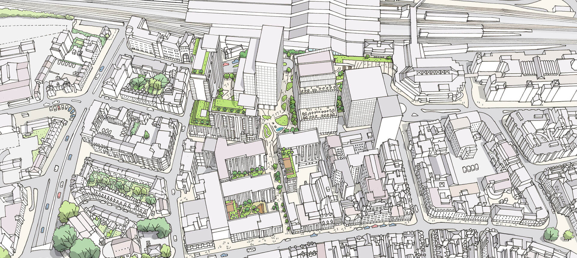 Station Hill North Reading, UK, Drawing Aerial View